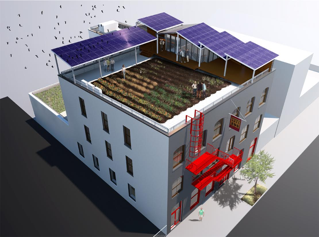 Roof Top Garden with Solar Panel Canopies